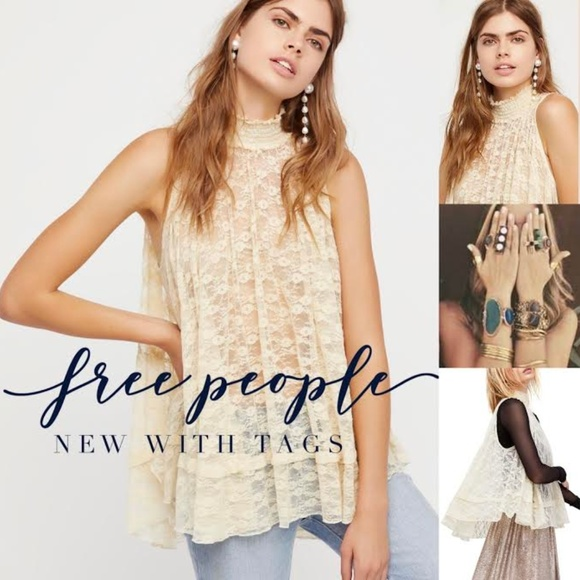 df154d2bd95 Free People Tops | Boho Lace High Neck Tunic New W Tags | Poshmark
